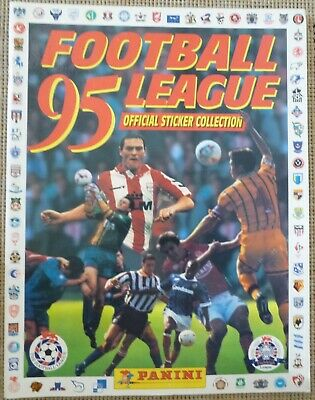 PANINI FOOTBALL LEAGUE 95 STICKER ALBUM by FIGURINE PANINI's inc A FEW STICKERS