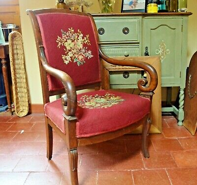 Vintage French Wooden Needlepoint Armchair