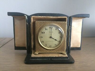 Zenith Watch Co Swiss Made Brass Gilt 8 Day Clock in Fitted Case