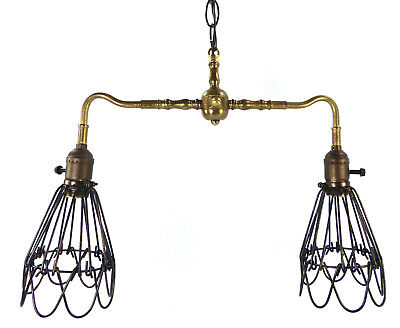 Industrial Chandelier Pendant 2 Wire Shades Brass Light Fixture Custom Made NYC
