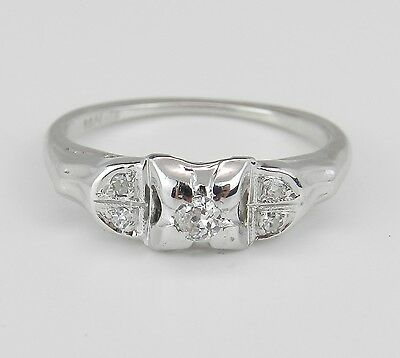 Antique Vintage Genuine Natural Diamond Engagement Ring 14K White Gold Size 4.75