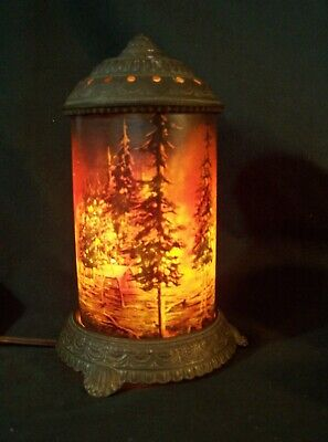 Antique SCENE IN ACTION Art Deco Table Lamp FOREST FIRE Cast Iron Night Light