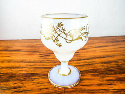 Antique Signed Sevres White Opaline Wine Glass Large Goblet with Gold Trim