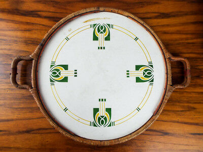 Antique 1913 Arts and Crafts Art Deco Serving Tray Round Porcelain White Green