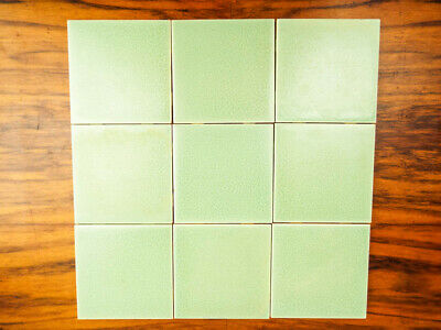 Set 9 Vintage Ceramic Wall Tile Pomona California Pottery American Square Green