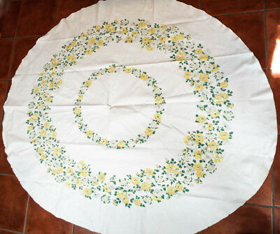 """Vintage Printed Tablecloth Linen w Yellow & Green Flowers Floral Print 67"""" x 58"""""""