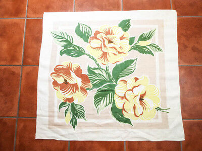 """Vintage Printed Tablecloth Linen w Yellow & Green Flowers Floral Print 36"""" x 33"""""""