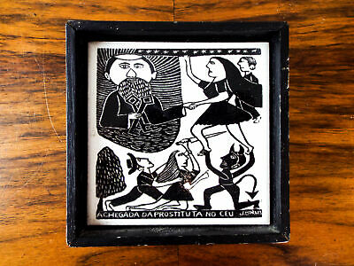 Vintage Framed Art Tile A Chegada Da Prostituta No Ceu Jose Francisco Borges