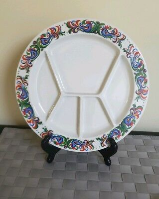 """Villeroy & Boch Septfontaines Rooster Divided Fondue Plate 10"""""""