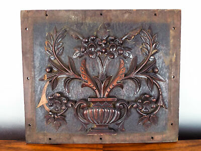 Vintage Wooden Carved Wood Wall Plaque Floral Square Gothic Carving Hanging