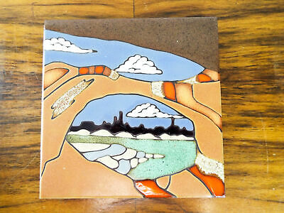 "Vintage 1987 Decorative Wall Accent Art Tile by Elany Hand Painted 6"" by 6"""