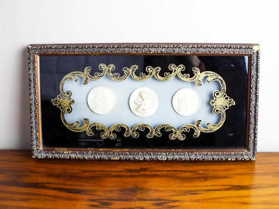 Antique Framed Cameo Intaglios Wall Hanging Picture, Romanesque Style Home Decor
