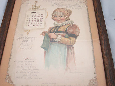 Antique Victorian Framed Advertising Calendar 1896 for Historic Peebles Corner