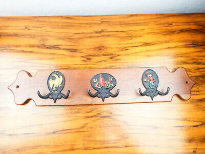 Vtg Figural Wall Coat Tree Vintage Oak Hall Hat Rack Craftsman Colonial Decor