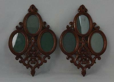Unusual Pair of Antique Carved Mahogany Triple Oval Portrait Frames