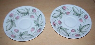 VINTAGE SUSIE COOPER 2 Bone China Saucers - Wild Strawberry Design