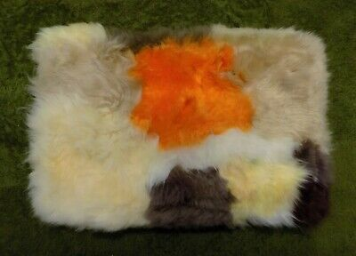 GENUINE Orange Yellow SHEEPSKIN RUG NURSERY, SEAT, PET BEDDING, MAT 51 x 33cm