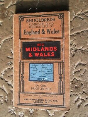 Geographia Shoolbred road map No 3 Midlands & Wales cloth 1930's Very very RARE