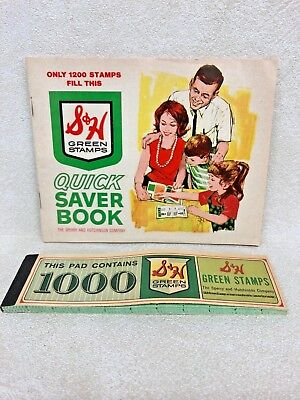 Collectible Vintage S & H Green Stamps Book Of 1000 & Gift Saver Book