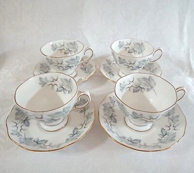 4 x Vintage Royal Albert Silver Maple Tea Cups and Saucers + 2 Free Saucers VGC
