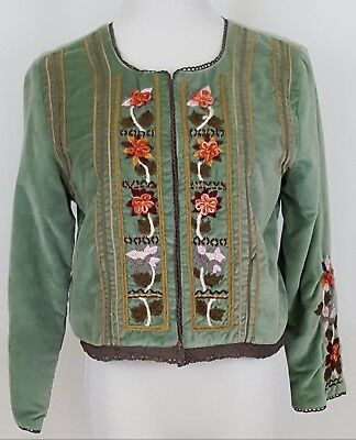 Casual Studio Cropped Jacket Womens Size M Green Velvet Embroidery Lined