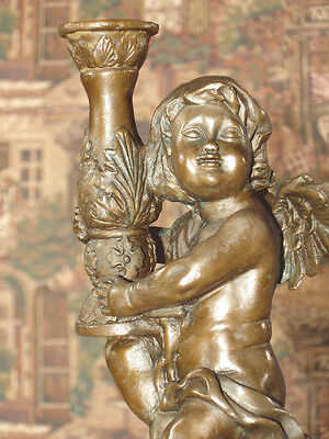 *Bronze Metal on Marble Base Ornate Candle Holder Victorian Cherub #2 of Pair S2