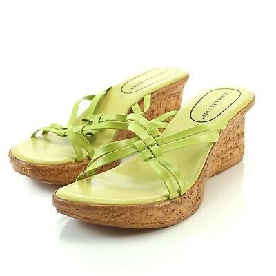 a34d6cb73 Athena Alexander Green Strappy Cork Wedge Sandals Slides Shoes Womens 41 US  10.5