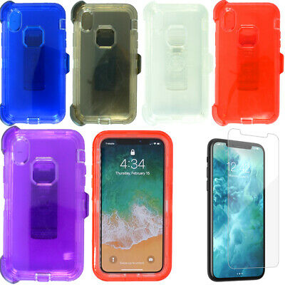For Apple iPhone X/XR/XS MAX Clear Case W/Screen (Clip fits Otterbox Defender)