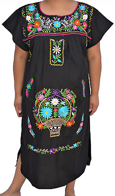 40bf66ded81 Vintage Black Mexican Floral Embroidered Boho Hippie Tunic Butterfly Long  Dress