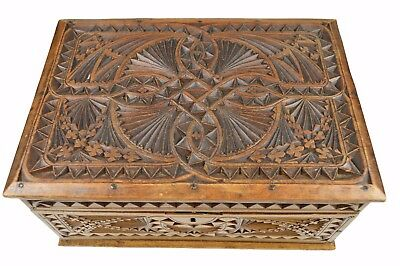 Antique Frisian Chip Carved Jewelry Chest, Box, Dutch.