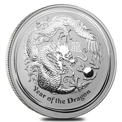 2012 1 Kilo Silver Lunar Year of The Dragon BU Australian Perth Mint In Cap