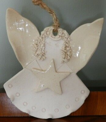 Handmade Ceramic/Pottery Beige/Off White Angel with rope hanger