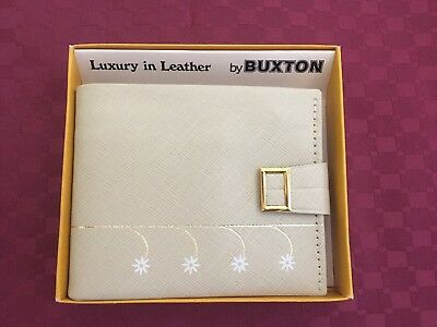 Vintage Cream Buxton Genuine Leather Wallet Brand New In Box