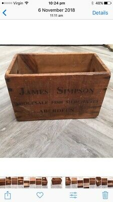 Vintage Style wooden Fish Crate Box James Simpson Fish Crate Aberdeen Storage