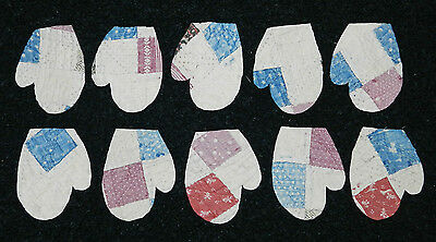 10 PRIMITIVE CUTTER QUILT MITTENS! CHRISTMAS! BLUE BURGUNDY RED Scrapbooking!