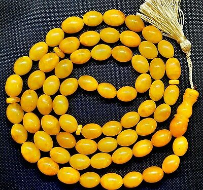 ANTIQUE 92 gr. GENUINE BALTIC AMBER ISLAMIC 66 OLIVE BEADS ROSARY TESBIH MISBAHA