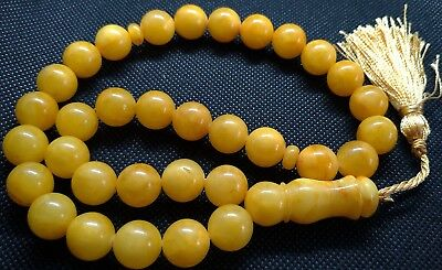 ANTIQUE 13mm - 47gr.  GENUINE BALTIC AMBER ISLAMIC 33 BALLS PRAYER BEADS ROSARY