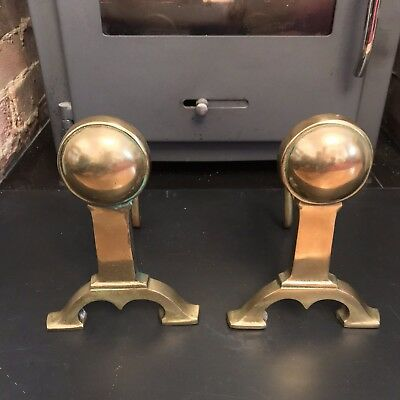 Antique Brass Fire Dogs Andirons Old Pair Arts & Crafts C1900s Old Heavy Brass