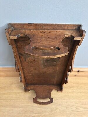 Antique Arts & Crafts Oak Tray Period Hand Made Carved Serving Trug Tidy Basket