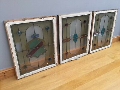 Victorian Stained Glass Leaded Windows & Frames X 5 Job Lot Large Antique c1900