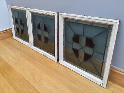 Victorian Stained Glass Leaded Windows & Frames X 7 Job Lot Large Antique c1900