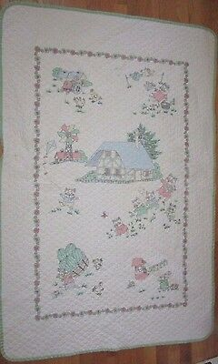 Richard Scarry baby crib blanket quilt pastel white green trim cats