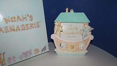 Noah's Menagerie Russ berrie photo frame ark animals teal aqua roof NIB 3x3.5pic