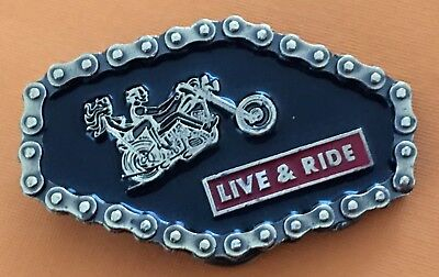VTG Very RARE Mint 1976 LIVE & RIDE Motorcycle Chain BELT BUCKLE-Harley, Chopper