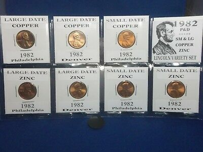 1982 (7) Coin Set - P&D Unc.- Large/Small: Copper/Zinc Lincoln Cent Variety's