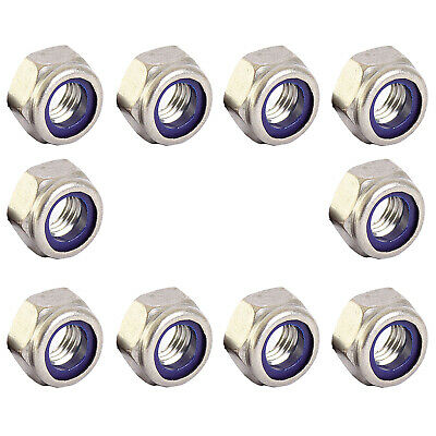 Nyloc M3 Nut x 10 - Metric - Marine Grade - A4 Stainless Steel - Fits 3mm Bolt
