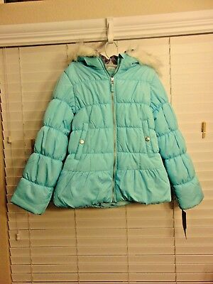 25fff704492 Weathertamer Hooded Puffer Coat With Faux-Fur Trim   Hat Turquoise Big Girls  S14