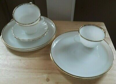 Fire King Milk Glass Gold Trim, Lot of 9, Round Snack Plates, Cups, Saucers