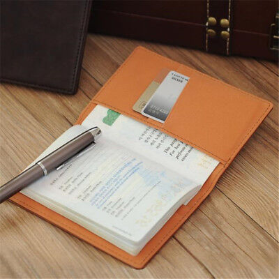 Men's PU Leather ID Card Package Passport Cover Bag Travel Card Case Coin Purse