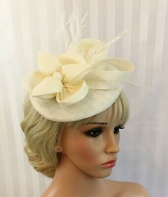 Ladies Cream Ivory Fascinator Sinamay Flower Feathers Wedding Races Ascot